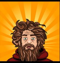 Head and face an untidy man homeless with a beard vector