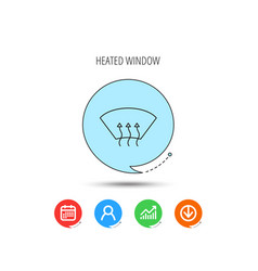 Heated window icon windshield arrows sign vector