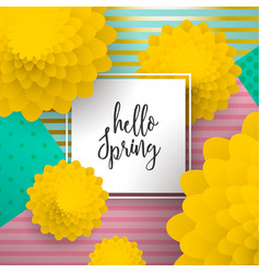 Hello spring paper art flower greeting card vector
