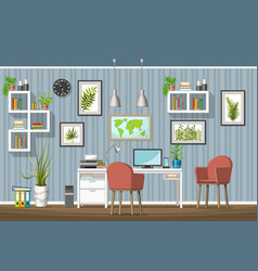 Interior equipment of a modern home office vector