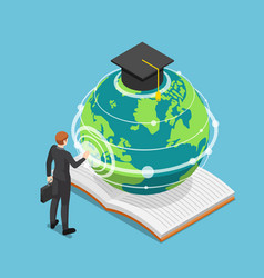 isometric businessman touching earth globe with vector image