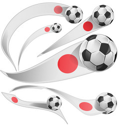 japan flag set with soccer ball vector image