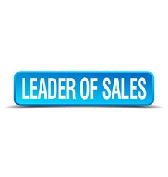 leader of sales blue 3d realistic square isolated vector image