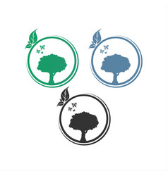 logo circle tree design vector image