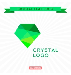Logo Green gem icon Bright gemstone vector image