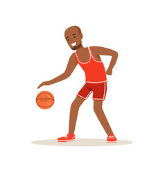 Male basketball player character active sport vector