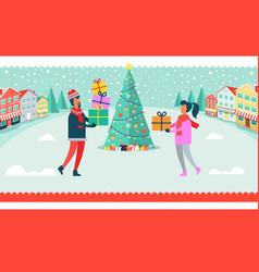 man and woman christmas tree vector image