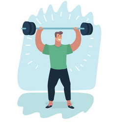 man lifting a barbell with fitness attire vector image