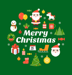 Merry christmas typography font and icon vector