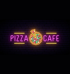 neon pizza cafe emblem logo for pizza restaurant vector image
