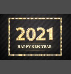 new year golden numbers with lamp light retro vector image