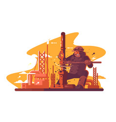 oil digger repairing pipe vector image