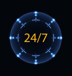 Open 24 7 hours blue neon label vector