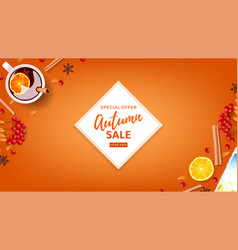 orange web banner for autumn seasonal sale vector image