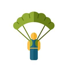 Parachute skydiver flat design long shadow color vector