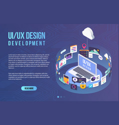 process developing interface for laptop vector image