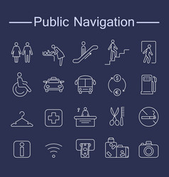 Public navigation signs icons vector