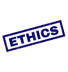 Rectangle scratched ethics stamp vector