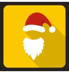 Red hat and white beard of Santa Claus icon vector image