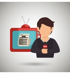 reporter tv news microphone vector image