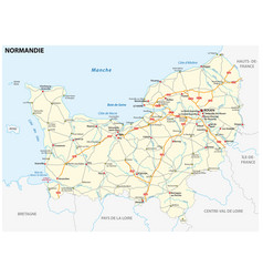 Road map new french region normandy vector