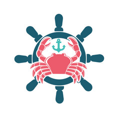 Seafood menu emblem with red crab and steering vector