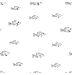 seamless pattern with black line fish vector image