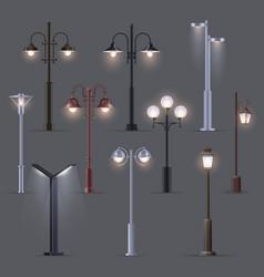 set isolated modern street light old lantern vector image
