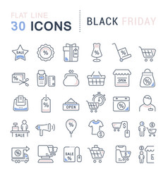 Set line icons black friday vector