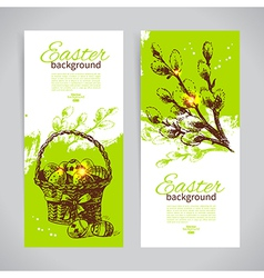 Set of vintage Easter banners vector image