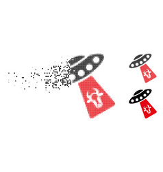 Shredded dotted halftone cow abduction icon vector