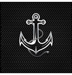 Silver anchor with rope on metal background vector