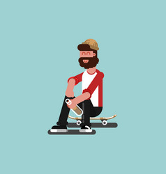Skater siting on his board vector