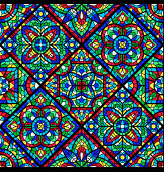 stained-glass window with colored piece vector image