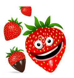 strawberry cartoon character set vector image