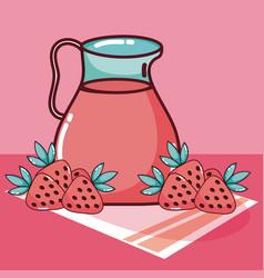 Strawberry fruit juice vector