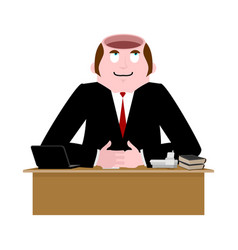 Stupid businessman open head is empty without vector