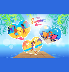 summer love time banner with photos couple vector image