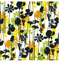 summer meadow seamless pattern black silhouettes vector image