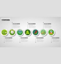 Timeline infographics design template with 7 vector