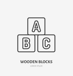 toy blocks line icon alphabet cubes flat logo vector image
