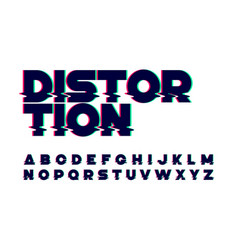Trendy style distorted glitch typeface vector