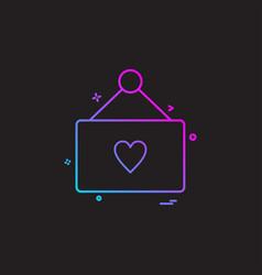 valentines heart shape calendar icon design vector image