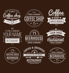Vintage logo coffee shop template restaurant vector