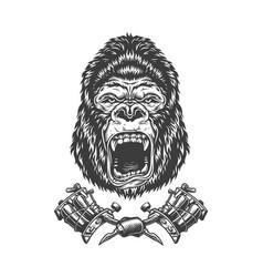 Vintage monochrome angry gorilla head vector