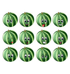 Watermelon with different emoticons vector