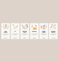 Web site onboarding screens job seeking cv and vector
