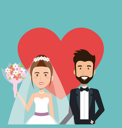 Wedding ceremony bride and groom together with vector
