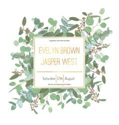Wedding invitation flyer square gold frame vector