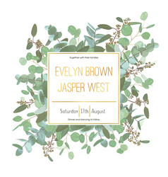 Wedding invitation flyer square gold frame with vector